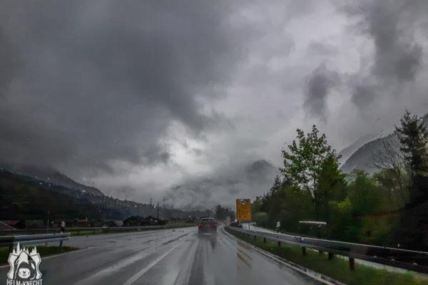 Verregnete Autobahn